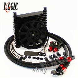17 Rows 32MM 10AN Universal Engine Oil Cooler+ Thermostat Filter Adapter Kit+Fan