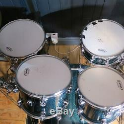 Natal Cafe Racer Green Sparkle Drum Kit + Sabian Cymbals Ex Puddle of Mudd